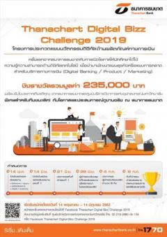 """ประกวดแผนนวัตกรรมดิจิทัลด้านผลิตภัณฑ์ทางการเงิน """"Thanachart Digital Bizz Challenge 2019"""""""