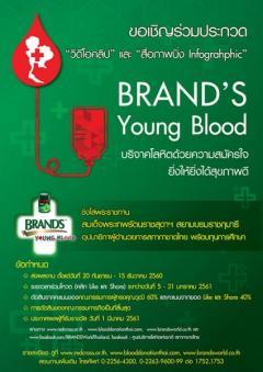"""ประกวดวีดีโอคลิป และสื่อภาพนิ่ง Infographic หัวข้อ """"BRAND'S Young Blood บริจาคโลหิตด้วยความสมัครใจ ยิ่งให้ยิ่งได้สุขภาพดี"""""""