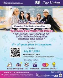 """ประกวดสร้างสื่อ หัวข้อ อัตลักษณ์เเละความเป็นตัวตน """"Raise Your Voice: Exploring Third-Culture Identities"""" Contest"""